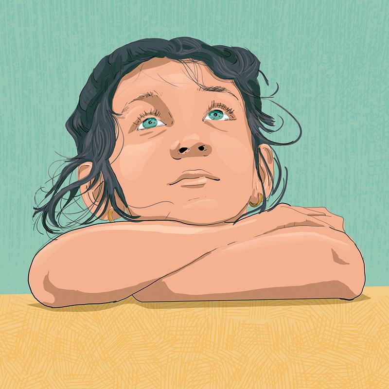 Disegno di bambina con testa appoggiata sulle braccia che guarda verso l'alto